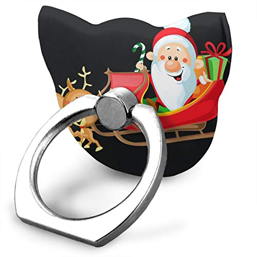 Cute Santa with Sleigh Custom Cat Shape Finger Ring Grip 360° Rotary Cell Phone Holder