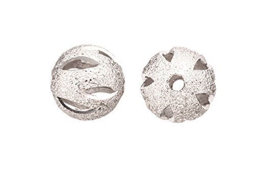 (Brass Bead, Rhodium-Finished Stardust with Marquise Cut Out, 10mm Round sold per pack of 6 (3pack bundle), SAVE $2)
