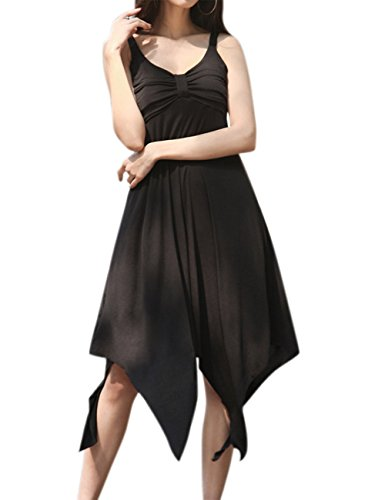 MissQee Women Casual Plus Size Asymmetrical Spaghetti Strap Sun Dress Black 4XL