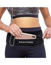 Build & Fitness Laufgürtel YKK Reißverschlusstasche, verstellbare Taille mit Schlüssel-Clip – passend für Fuel Gel, iPhone 6, 7, 8 Plus, X, Samsung