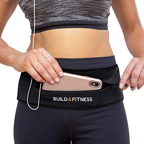Build & Fitness Zipper Running Belt, Adjustable Waist with Key Clip - Fits Fuel GU's, iPhone 7,8 Plus,XS,11,Pro, Samsung S8,S9,S10 - for Men, Women, Runners, Jogging, Gym, Yoga, Workout, Sports from Build & Fitness