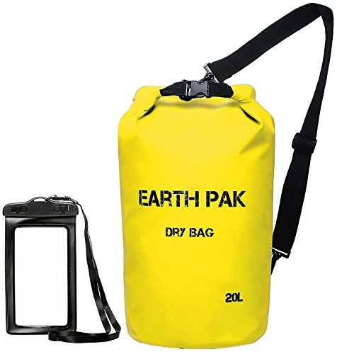 Earth Pak -Waterproof Dry Bag - Roll Top Dry Compression Sack Keeps Gear Dry for Kayaking, Beach, Rafting, Boating, Hiking, Camping and Fishing with Waterproof Phone Case (Submersible Accessory)