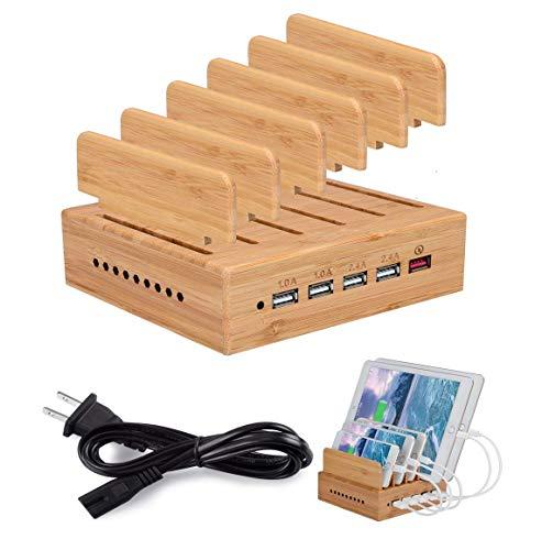 Homesave USB Charge Station, 5 Puertos 6A 30W Muelle de Carga USB para teléfono Inteligente y tabletas de bambú,UK