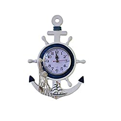 Dongyue Sea Theme Nautical Anchor Ship Steering Wheel Fishing Net Wall Clock Suit for Hanging Decoration Ornament Shelf Stand Wall Mounted