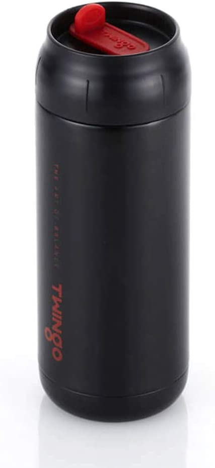 Twingo Double Wall Insulated Stainless Steel Vacuum Tumbler with Straw Hole, 13.5oz, Black