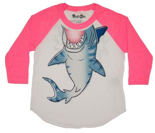 Peek A-boo Back Top - Peek-A-Zoo Toddler Become an Animal 3/4 Sleeve Raglan - Shark Pink - 6T