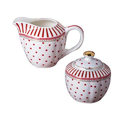 Grace Teaware Porcelain Scallop Sugar Creamer 2-Piece Set (Red Dot Stripes) ()