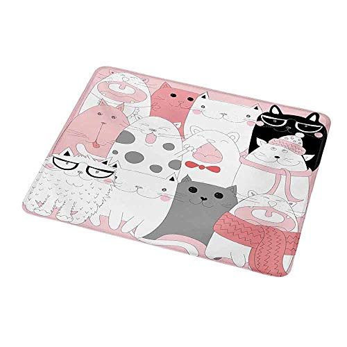 Gaming Mouse Pad Custom Design Mat Cat,Cute Cartoon Kittens Collection Funny Smiling Glasses Scarfs Doodle Humor,Pale Pink White Black,Non-Slip Rubber Mousepad 9.8