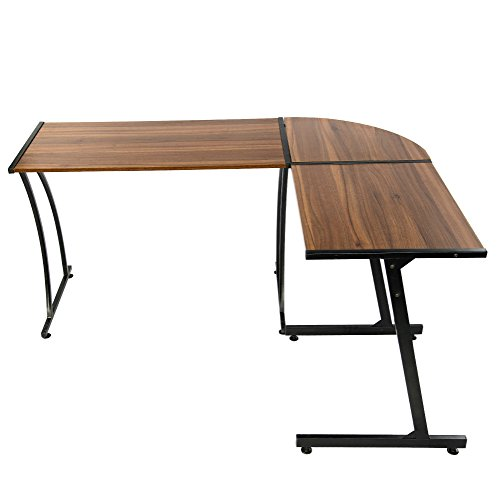GreenForest Office Desk L-Shape Corner Computer PC Table Workstation 3-Piece for Home,Dark Walnut Photo #3