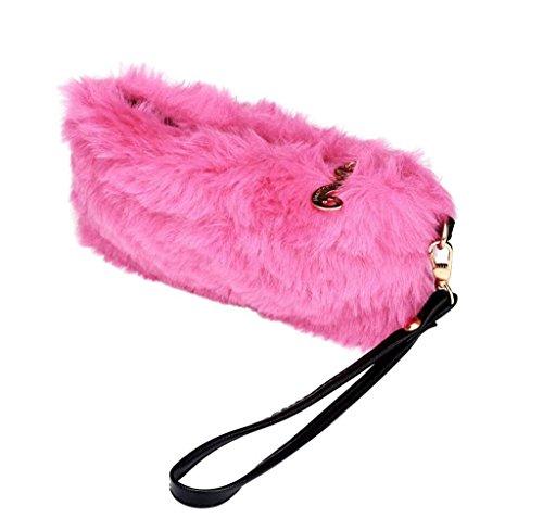 Geldbörsen, Rcool Mode 1pc Frauen Mädchen Warm pelzigen Handtasche Karte Pack kleine haarige Tasche Handtasche (Rosa) Rosa