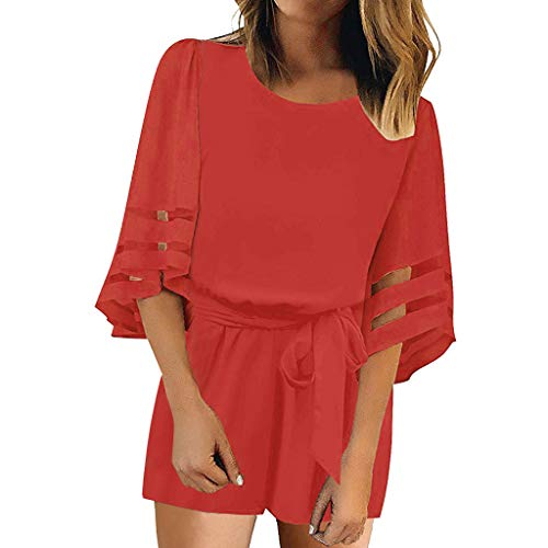 Womens Shift Dress O-Neck Solid Mesh Panel Blouse 3/4 Bell Sleeve Loose Mini Dress with Belt (S, ()
