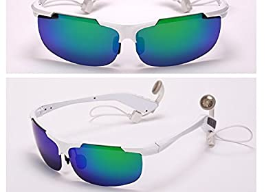 Voice Control Smart SunGlasses,Facleta Unique Touch PAD Control Sports Bluetooth Glasses Headset Stereo Earphone Music MP3 Foldable,Headphone Universal for Samsung,Iphone,Smartphones-White