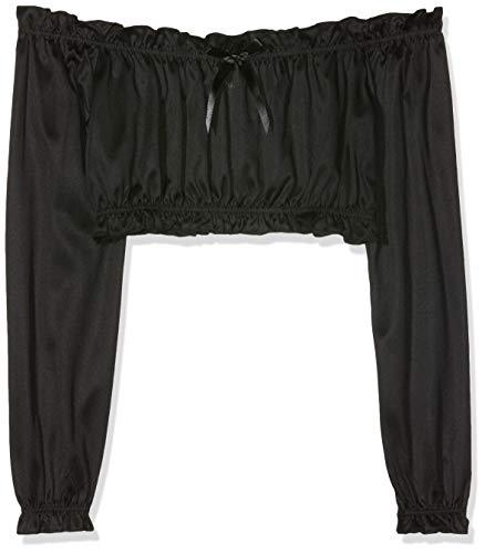 Black Corset Halloween Costume (Dreamgirl Women's Ruffled Crop Top Renaissance Peasant Costume Accessory, Black,)