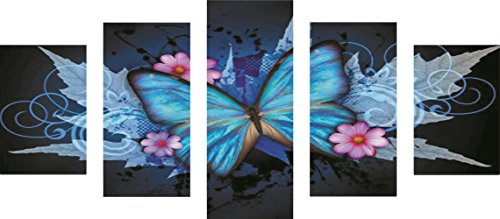 DIY 5D Diamond Painting by Number Kits, Full Drill Crystal Rhinestone Embroidery Pictures Arts Craft for Home Wall Decor Gift (Blue Butterfly, 37.417.7inch)