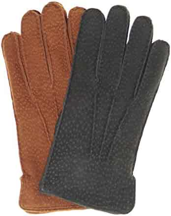 31b2afd591fe5 Fratelli Orsini Men's Handsewn Rabbit Fur Lined Italian Carpincho Dress  Gloves