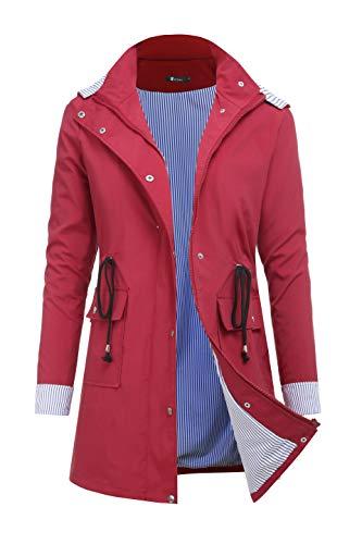 RAGEMALL Women's Raincoats Windbreaker Rain Jacket Waterproof Lightweight Outdoor Hooded Trench Coats Dark red s