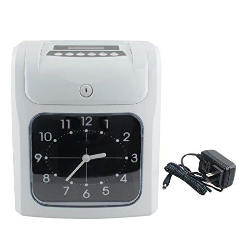 Enshey Electronic Time Clock Employee Analogue Time Recorder w/Card Monthly/Weekly/Bi-weekly Automatic in -and -out attendance card, Includes Key by Enshey