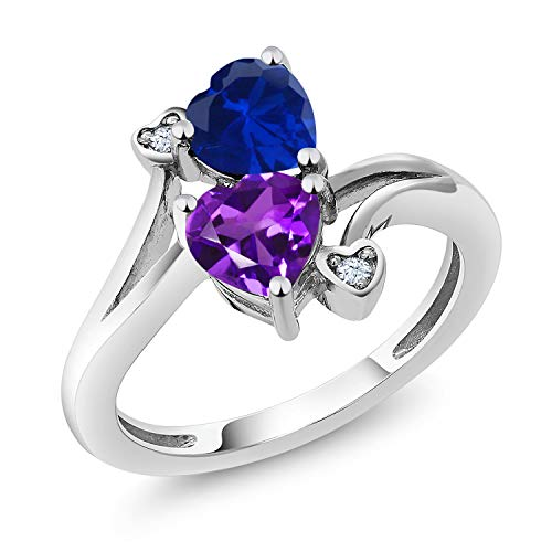 Gem Stone King 925 Sterling Silver Blue Simulated Sapphire and Purple Amethyst Women's Ring 1.48 Ctw Heart Shape (Size - Ring Amethyst Sapphire
