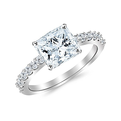 (1 Ctw Princess Cut Classic Side Stone Prong Set 14K White Gold Diamond Engagement Ring (H-I Color VS1-VS2 Clarity 0.5 Ct Center))