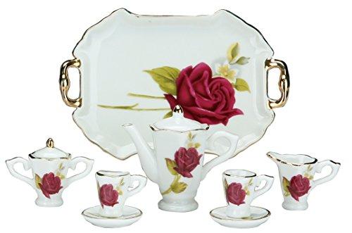 Miniature Collectible RED ROSE Porcelain Tea Set: Teapot, Sugar Bowl, Creamer, 2 Teacups, Serving Platter