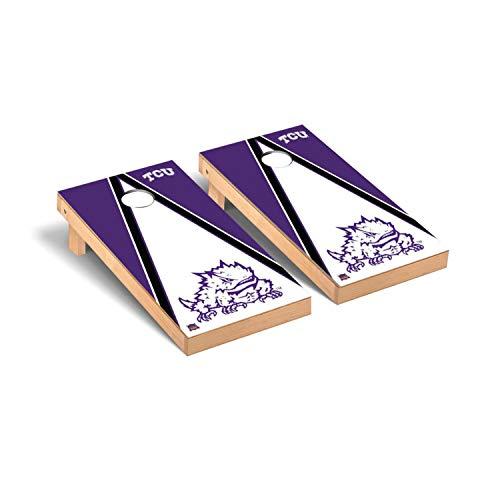 Victory Tailgate Regulation Collegiate NCAA Triangle Series Cornhole Board Set - 2 Boards, 8 Bags - Texas Christian University TCU Horned Frogs