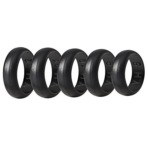 Yoheer(tm) Men's Rubber Silicone Wedding Ring 5 Rings PER Pack Universal Size Black Elastically Rings. Make an Artful and Unique Birthday or Anniversary Gift (Black)
