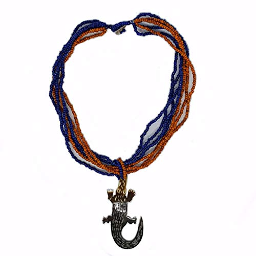 Black Lip Pendant Shell Pendant - Gigi Ann Necklace with Alligator Pendant Style No. 4220 (Orange and Blue)