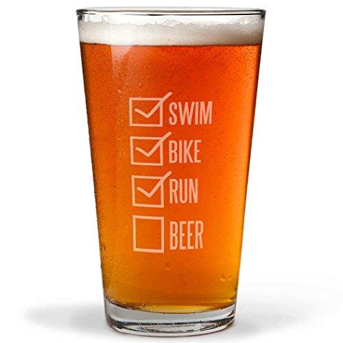 Swim Bike Run Checklist Engraved Beer Pint Glass By ChalkTalk SPORTS | 16 oz. by Gone For a Run
