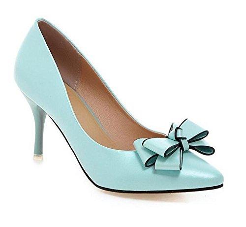XIE Apuntó los Zapatos Planos del Color Sólido de la Boca Baja del Dedo del pie El Viento Dulce Elegante Fino con los Zapatos de la Corte de los Altos Talones, Pink, 37 BLUE-39