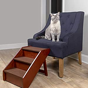 PetSafe Solvit PupSTEP Wood Pet Stairs, Medium, Foldable Steps for Dogs and Cats, Best for Small to Medium Pets