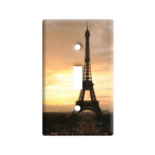 (Paris - Eiffel Tower at Sunset - Plastic Wall Decor Toggle Light Switch Plate Cover)