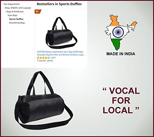 41iB97iThML AUXTER Blacky Leatherette Gym Bag Duffel Bag Shoulder Bag for Men and Women Emboss Logo (Black)