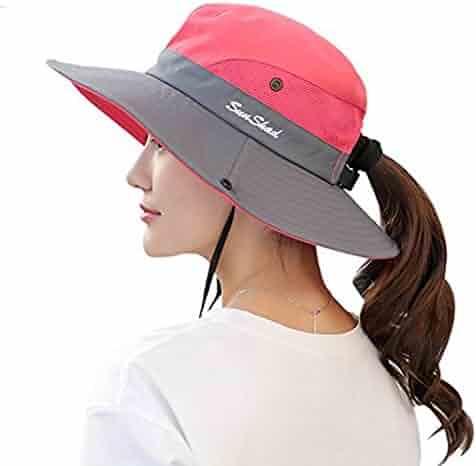 38bd7ccb Ponytail Women's Summer Sun Bucket Hats UV Protection Safari Hiking Wide  Brim Beach Foldable Mesh Fishing