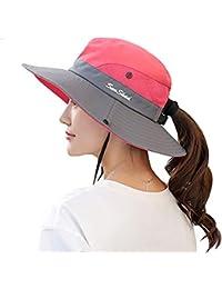 097412b0622cae Ponytail Women's Summer Sun Bucket Hats UV Protection Safari Hiking Wide  Brim Beach Foldable Mesh Fishing