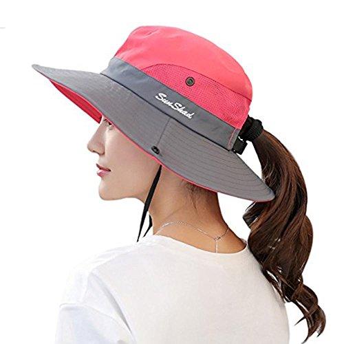- Ponytail Women's Summer Sun Bucket Hats UV Protection Safari Hiking Wide Brim Beach Foldable Mesh Fishing Cap (One Size, Watermelon Red/1)