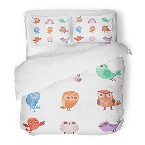 Emvency Bedding Duvet Cover Set Twin (1 Duvet Cover + 1 Pillowcase) Adorable Cute Cartoon Owls Lovely Colorful Owlets Angry Animal Bird Branch Character Hotel Quality Wrinkle and Stain Resistant for $<!--$89.90-->