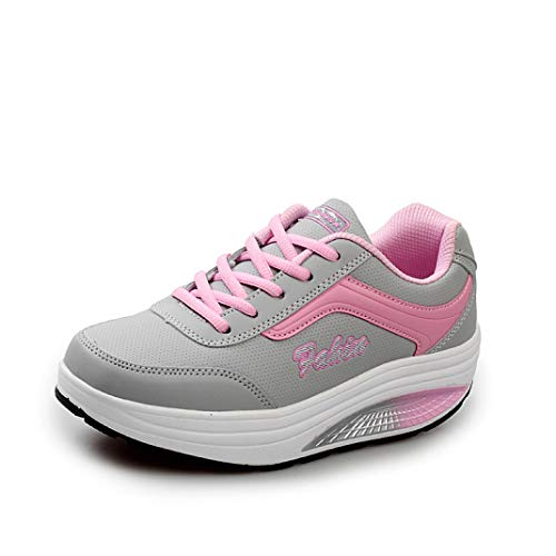 U-MAC Womens Rocking Sneakers Moccasins Flats Girls Lace Up Light Weight PU Leather Platform Cozy Soft Bottom Shoes Pink ()