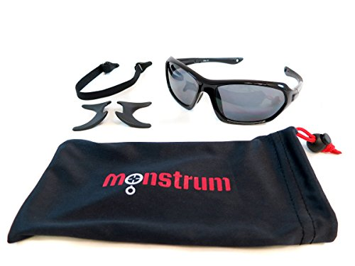 Monstrum Tactical TS01 Protective Sunglasses with Detachable Side Shields (Glossy Black, Smoke Grey) ()