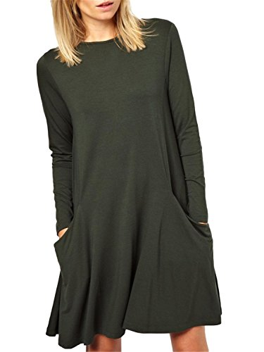 Women's Basic Long Sleeve Pockets Casual Loose Plain Tshirt Dress Army Green 2XL