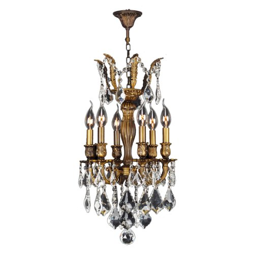 Worldwide Lighting Versailles Collection 6 Light Antique Bronze Finish and Clear Crystal Chandelier 13