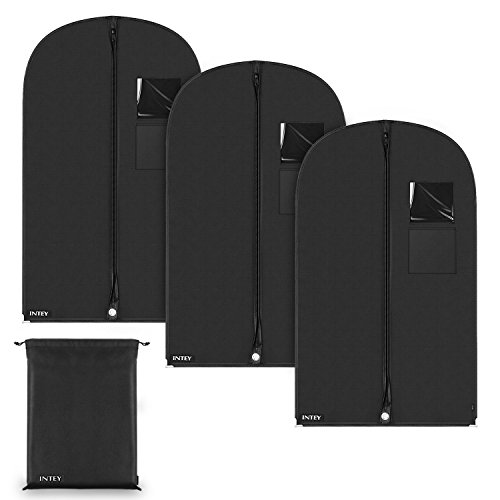 INTEY Garment Bags with A Shoe Bag for Clothes Storage, Carriers Covers for Suit, Luggage, Dresses, Linens, Black