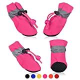 SMARTHING 4 PCS Dog Cat Shoes with Reflective Anti Slip Sole Rain Snow Boots Adjustable Fastening Straps Breathable Socks Sneaker Paw Protector for Small Dogs Puppy Cats (M, Pink(Soft))