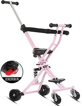Triciclo Pequeño Plegable Ligero Para Niños Trolley De 1-6 Años Amortiguación rosa más cojín