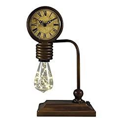 LED Old Fashioned Rustic Vintage Style Desk Clock with Bulb