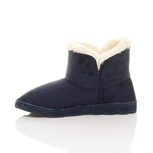 Damen Flach Warm Luxuriöses Pelz Gefüttert Stiefeletten Hausschuhe Größe Marineblau