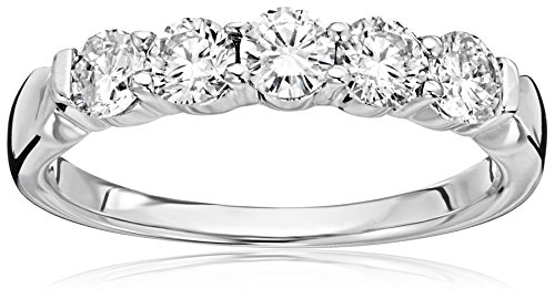 14k White Gold 5-Stone Round Diamond Anniversary Band (1 cttw, IJ Color, I1-I2 Clarity), Size (Round Five Stone Diamond Band)