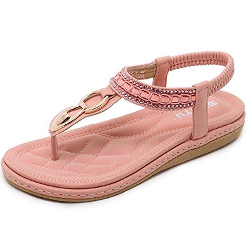 Hattie Women's Diamond Ankle Strap Sandals Summer Clip Toe Flats Pink vMHAf