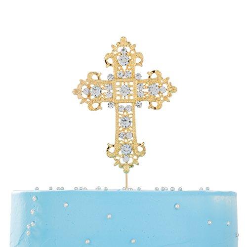 Gold Confirmation Cross - LOVENJOY Gold Cross Cake Topper 3.5