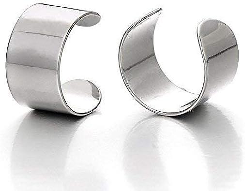sobly joyería 2pcs Plata Color acero inoxidable Ear Cuff Clip de oreja non- Piercing clip On pendientes para los hombres y las mujeres: Amazon.es: Joyería