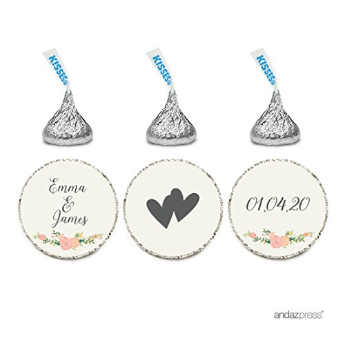 Andaz Press Personalized Wedding Chocolate Drop Label Stickers, Interlocking Double Hearts, Floral Roses, 216-Pack, for Engagement Bridal Shower Hershey